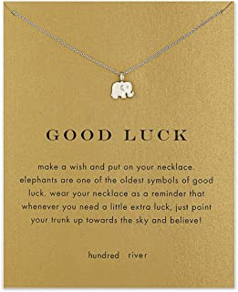 Hundred River Good Luck Elephant Necklace Birthday Gift Necklace with Message Card Gift Card (Elephant Sliver)