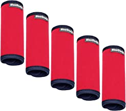 BlueCosto (Red 5-Pack) Soft Neoprene Luggage Handle Wraps Grips Suitcase Identifier Tags