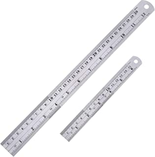 Amuoc Stainless Steel Ruler and Metal Rule Kit with Conversion Table (Silver, 12 Inch, 6 Inch)