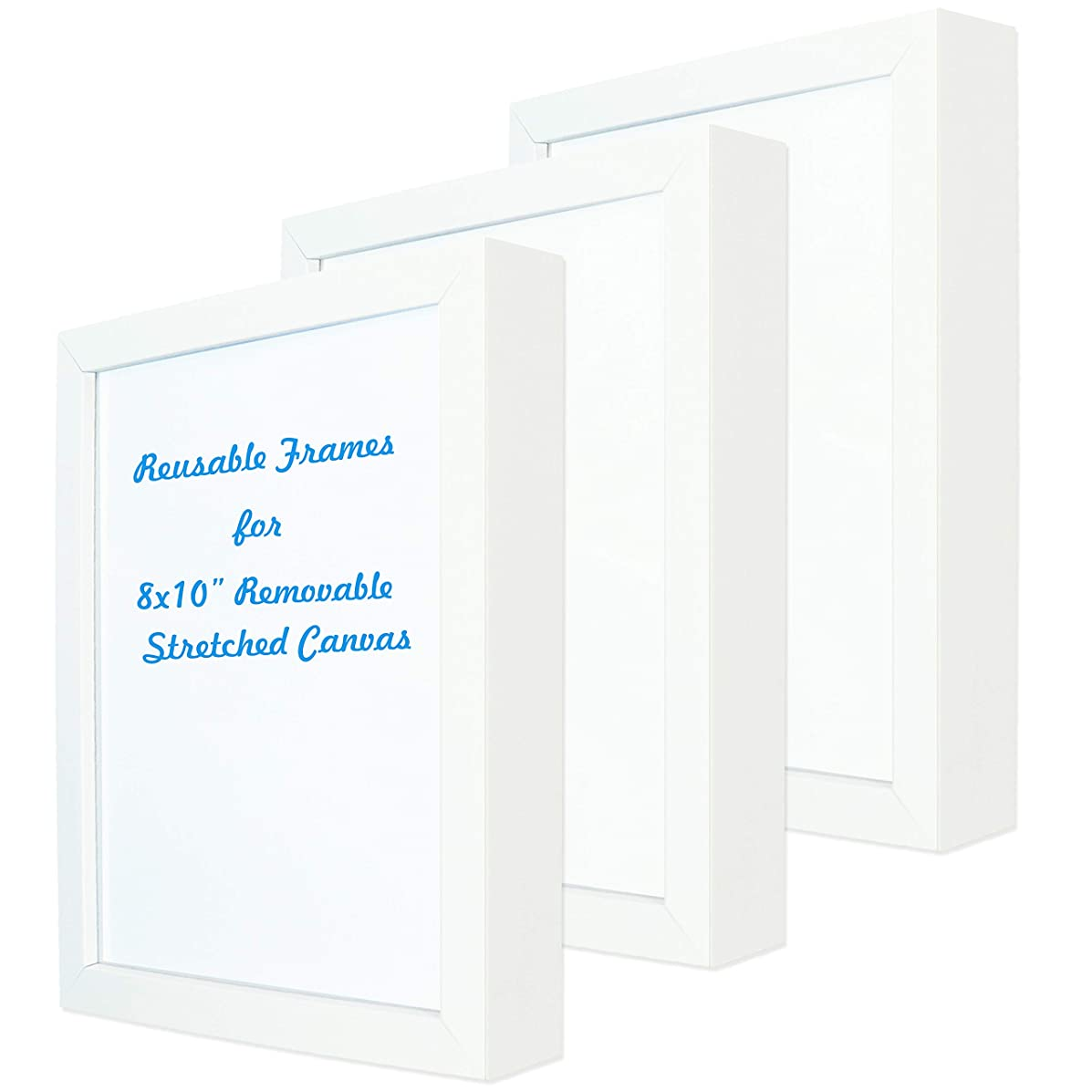 Natural art 8x10 Inch Removable Stretched Canvas with Reusable Frames Pack of 3 for Paintings White