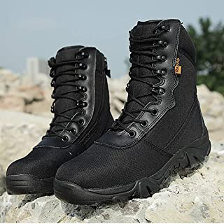 Aegilmc Men Combat Boots Tactical Delta Military Boots, Laced Shoes Sports Outdoor Hiking Combat Boots Military Boots Ultra-Light Hiking Shoes and Sports Footwear,Black,44EU