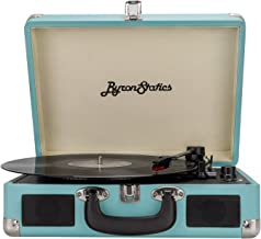 Byron Statics Turntable Record Player Speaker Portable Vinyl Player 3 Speed Dust Free Suitcase Autostop RCA Output AUX Input Headphone Jack Extra Stylus Free Audio Cable 9W Teal