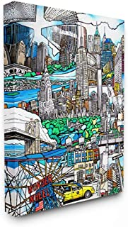 Stupell Industries New York City Cartoon Montage Drawing, Designed by Enrico Fossati Wall Art, 24 x 30, Canvas