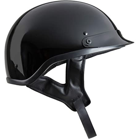 Fuel Helmets SH-HHGL14 Unisex-Adult Deluxe Shorty DOT Approved Motorcycle Half Helmet (Gloss Black, Small)