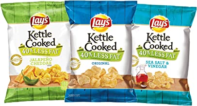 Lay's Kettle Cooked 40% Reduced Fat, Variety Pack, 1.375oz (28 Count)