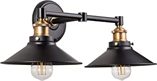 Andante LED Industrial 2 Light Wall Sconce - Black with Antique Brass - Linea di Liara LL-WL427-AB