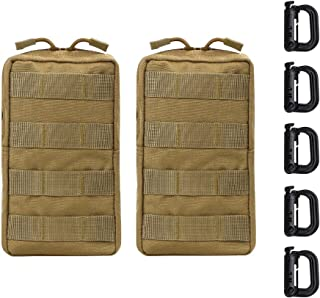 Vihir Molle Pouches 2Pack - Military Tactical Multi-Purpose Water-Resistant Utility EDC Pouch, with 5 Tactical D-Ring Locks