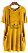 Londony❀♪ Women Pocket Shirts Casual Loose Fit Tunic Top Baggy Comfy Blouse Lightweight Pullover Sweatshirt Hoodies