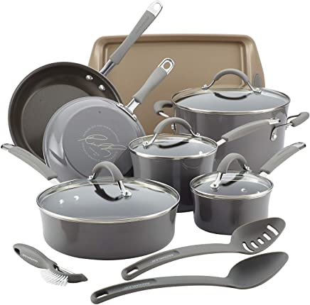 Rachael Ray Cucina 14 Piece Porcelain Hard Enamel NonStick Cookware Pot Pan Set, Gray