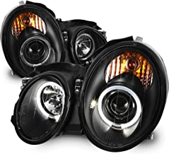 For 98-02 Mercedes Benz W208 CLK-Class 320/430 55AMG Black Bezel LED Dual Halo Ring Halogen Type Projector Headlights