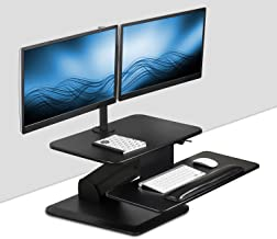 Mount-It! Sit Stand Workstation Standing Desk Converter with Dual Monitor Mount Combo, Ergonomic Height Adjustable Tabletop Desk, Black