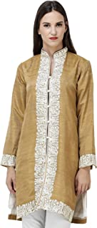 Exotic India Apple-Cinnamon Jacket from Srinagar with Ari Embroidery - Brown