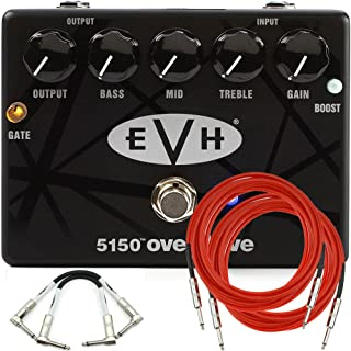 MXR EVH 5150 Eddie Van Halen Overdrive Analog Guitar Effect Pedal Bundle with 4 Cables