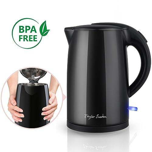 TaylorSwodenJack900039- Bouilloire 0% BPA sans fil de 1.7L. 2200W, Toucher froid et double paroi extérieure. arrêt automatique et sécurité anti-ébullition à vide. Design exclusif.