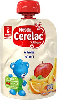 Nestlé CERELAC Fruits Puree Pouch 6 Fruits (Apple, Banana, Peach, Apricot, Orange, Grape) 90g