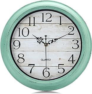 Lafocuse Horloge Murale Shabby Chic Turquoise Silencieuse Pendule Murale Quartz Vintage Grain de Bois pour Cuisine Salon C...