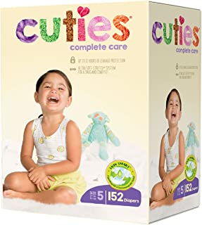 Cuties Complete Care Baby Diapers, Size 5, 152 Count