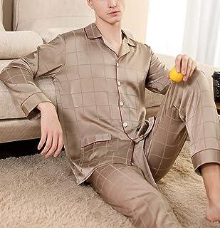 Men'S Pyjama Set - Spring Summer Long Sleeve Button Sleepwear Fashion Casual Two Piece Set Plaid Nightwear Cardigan Lounge...
