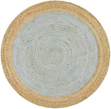 Round Jute Natural Floor Rug Covering Large Carpet Flooring Rugs Blue 200x200cm