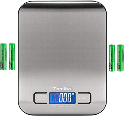 TOMIBA Digital Kitchen Food Scale 11 lb Grams and Ounces Small Stainless Steel Backlit Silver Batteries Included