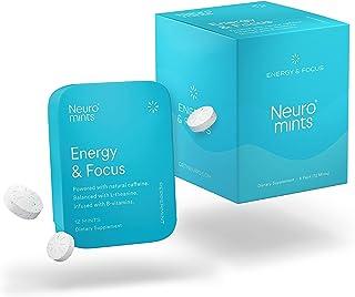 Neuro Mints Nootropic Energy Mints   Caffeine + L-theanine + B Vitamins   Sugar Free + Gluten free + Vegan (6 Pack = 72 Pi...