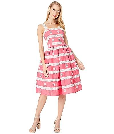 Unique Vintage Barbie X Unique Vintage Busy Morning Sundress (Rose Coral/White) Women