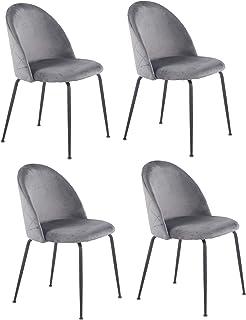 Meubletmoi – Juego de 4 sillas gris terciopelo y patas metálicas negras – FARA