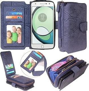 Moto Z Force/Z Play Case, Harryshell Luxury 11 Card Slots Zipper Wallet Detachable Magnetic Case Clutch Purse with Mirror Handstrap for Motorola Moto Z Force Droid (A-1)