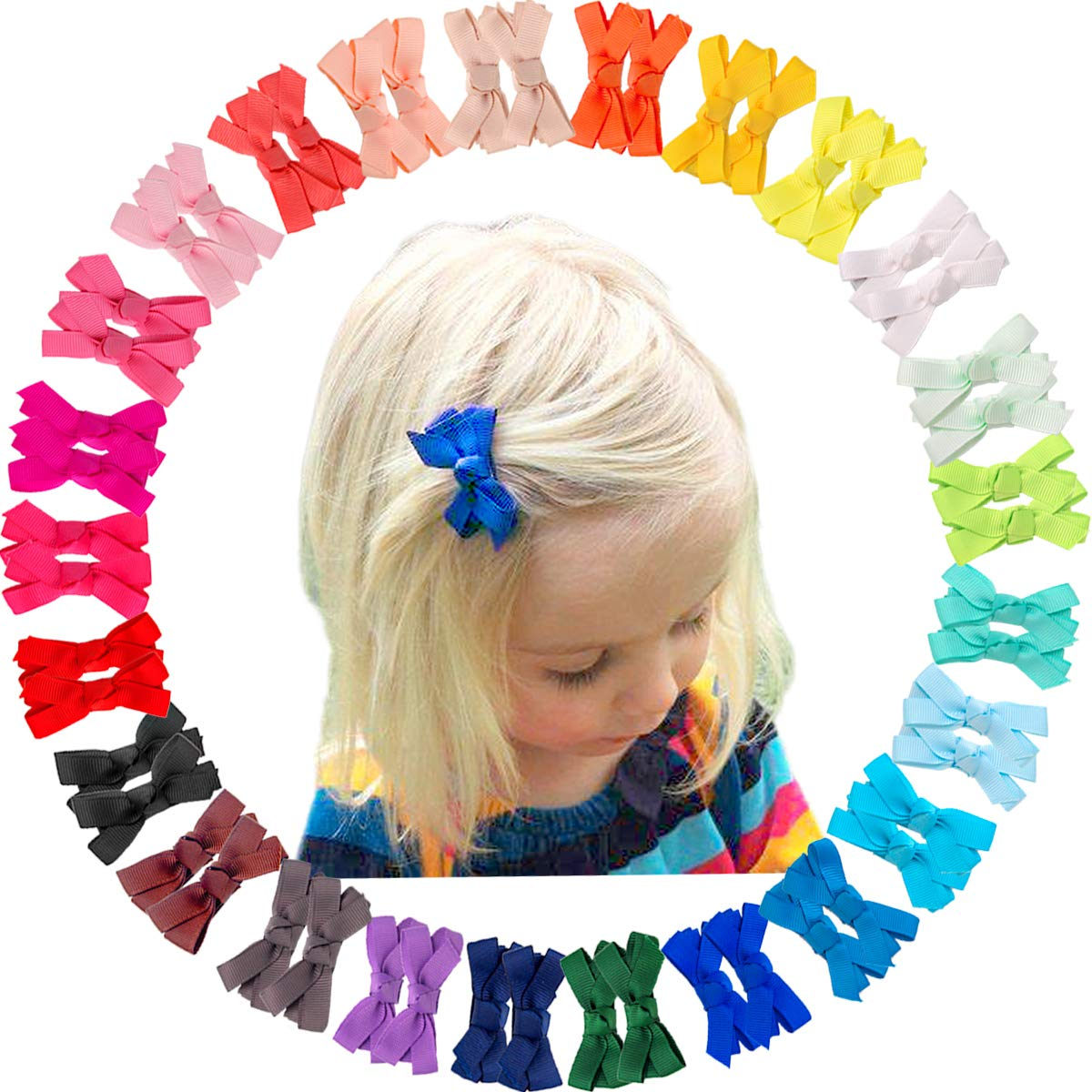 Ultra-Cheap Deals 50 Pieces Girls Hair Bow Clips New product! New type Bows Accessori Inches 2 Mini