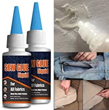 1 Min Quick Bonding Fast Dry Sew Glue Liquid Reinforcing Adhesive Speedy Fix for All Fabrics Clothing Cotton Flannel Denim Leather Polyester Doll Repair (60ml)