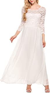 Women's Retro Floral Lace Dress 3/4 Sleeve Chiffon Maxi Dresses