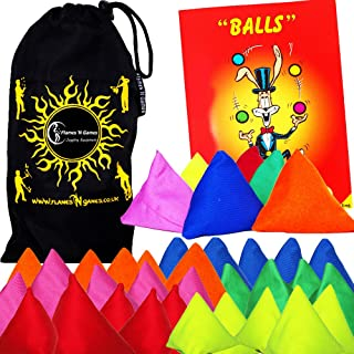 5x Tri-It Juggling Balls - Set of 5 Pyramid Juggling Sacks Bean Bags For Kids & Adults + + Mr Babache Ball Juggling Book of Tricks + Fabric Travel Bag. (Mix) by Flames N Games Juggling Ball Sets