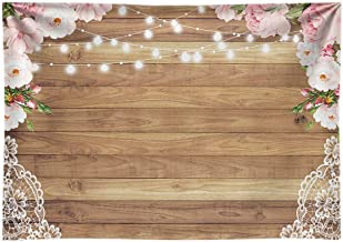 Funnytree 10x6.5ft Durable Fabric Flowers Wood Lace Rustic Backdrop No Wrinkles Wedding Floral Floor Photography Background Bachelorette Party Bridal Shower Baby Birthday Banner Photo Studio Props