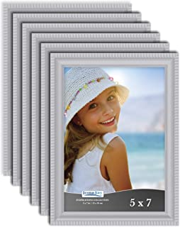 Icona Bay 5x7 Picture Frames (6 Pack, Gray) Picture Frame Set, Wall Mount or Table Top, Set of 6 Inspirations Collection