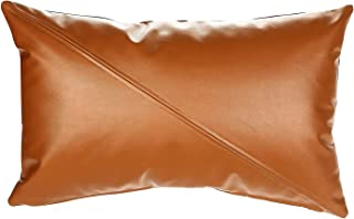 Faux Leather Pillow Cover, Thick Throw Pillow Case for Couch, Sofa (Brown with Stitched, 12 x 20 Inch)