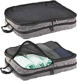mDesign Double-Sided Fabric Travel Storage Organizer Cube with Mesh Tops, Handles and Two-Way Zippers for Packing Suitcase...