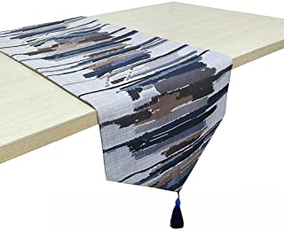 OZXCHIXU TM Stripe Printing Table Runner with Tassels Flax Table Runners Coffee Tea Table Dresser Home Decoration 13 x 73 Inches ,Dark Blue