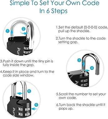 Puroma 2 Pack Combination Lock 4 Digit Outdoor Waterproof Padlock for School Gym Locker, Sports Locker, Fence, Toolbox, Gate,