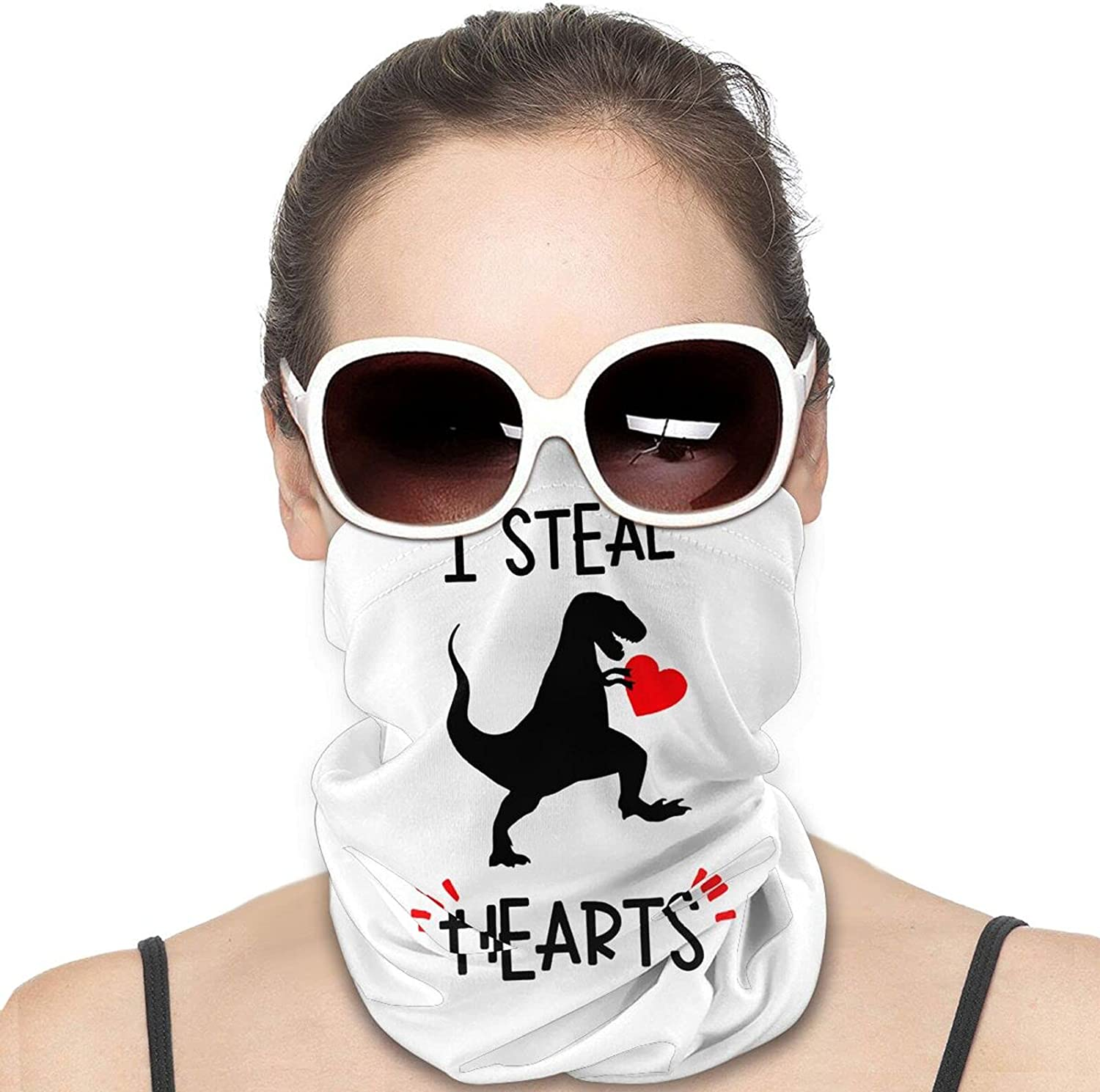 I Steal Hearts Trex Dino Round Neck Gaiter Bandnas Face Cover Uv Protection Prevent bask in Ice Scarf Headbands Perfect for Motorcycle Cycling Running Festival Raves Outdoors