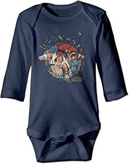 HYRONE Princess Cartoon Mononoke Baby Bodysuit Long Sleeve Romper Suits Navy