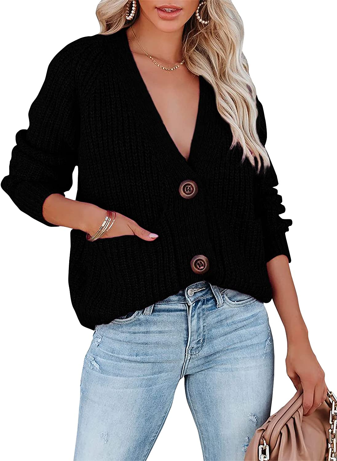 Women's Long Sleeve V Neck Button Down Cardigan Sweaters Rib Knit Open Front Pocket Casual Loose Sweater Tops