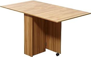 Table de cuisine salon pliable mobile sur roulettes 140L x 80l x 74H cm 2 étagères intégrées coloris chêne