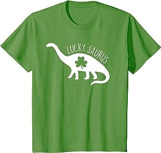 Kids Cute Dinosaur Shamrock St Patricks Day Green T-Shirt
