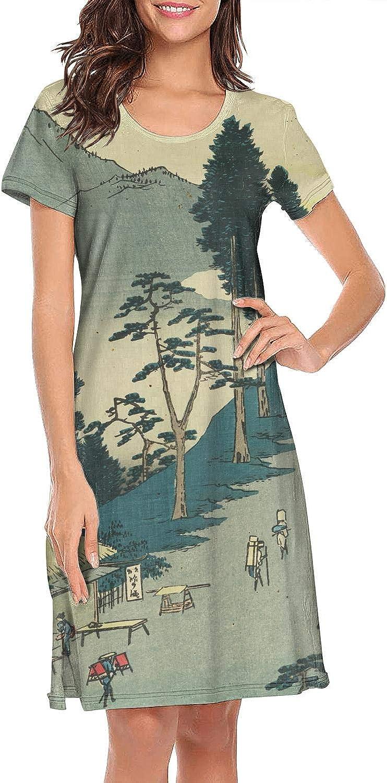 ZWEN Womens Japanese Ukiyo Art Nightgown Lightweight Nightshirt Breathable Sleeping Gown