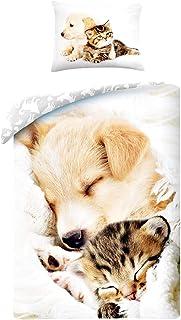 Halantex Juegos De Fundas para Edredón Gato y Perro Durmiendo Juntos Muy Adorable - Funda nórdica 140x200cm + Funda de Almohada 70x90cm 100% algodón