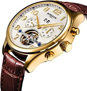 BINSSAW Men Automatic Mechanical Tourbillon Watch Brand Leather Gold Fashion Casual Stainless Steel Sports Wrist Watches for Male