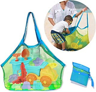 Starthi Mesh Beach Tote Bag, Kids Sea Shell Bags for Outdoor Swim Pool Childrens and Kids Toys Travel Towels Sand Away Org...