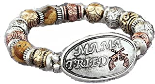 Mama Tried Gun Pistol Stretch Bracelet Western Burnished Tri-Tone Jewelry