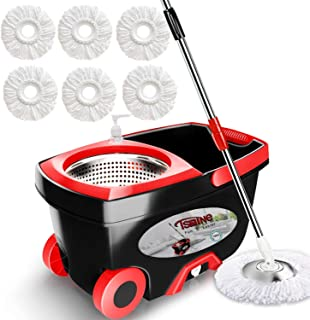 Tsmine Spin Mop & Bucket Floor Cleaning System, Household Cleaning Supplies Stainless Steel Mop Bucket with Wringer on Whe...