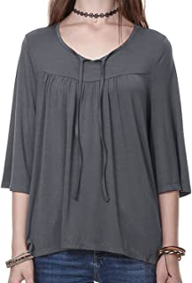 Women's Plus Size V Neck Tunic Top Loose T Shirt (S-3X, Check Coupons)